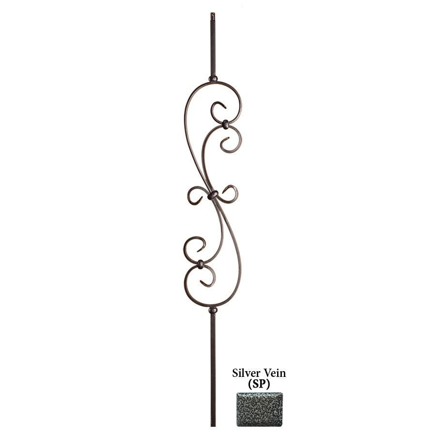 House of Forgings Solid 44-in Silver Vein Wrought Iron Scroll Stair Baluster