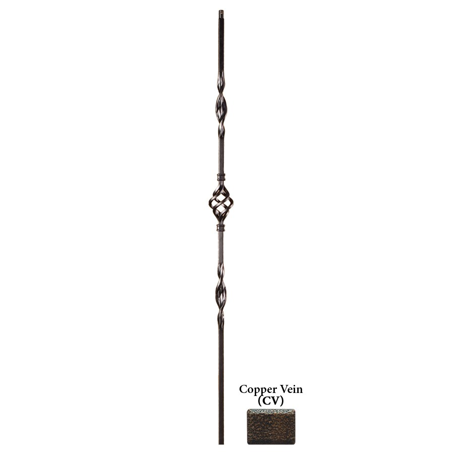 House of Forgings Solid 44-in Copper Vein Wrought Iron Ribbon Stair Baluster