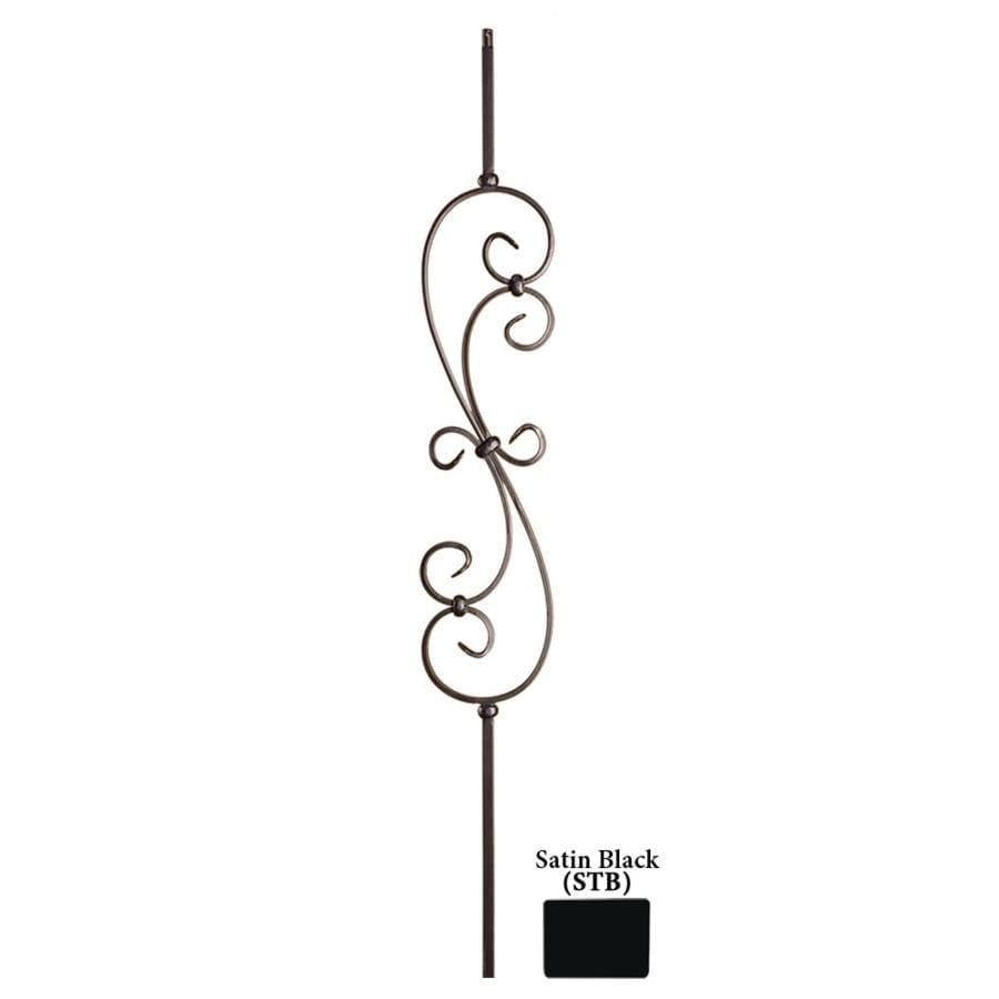 House Of Forgings Hollow 44 In Satin Black Wrought Iron Scroll Stair  Baluster