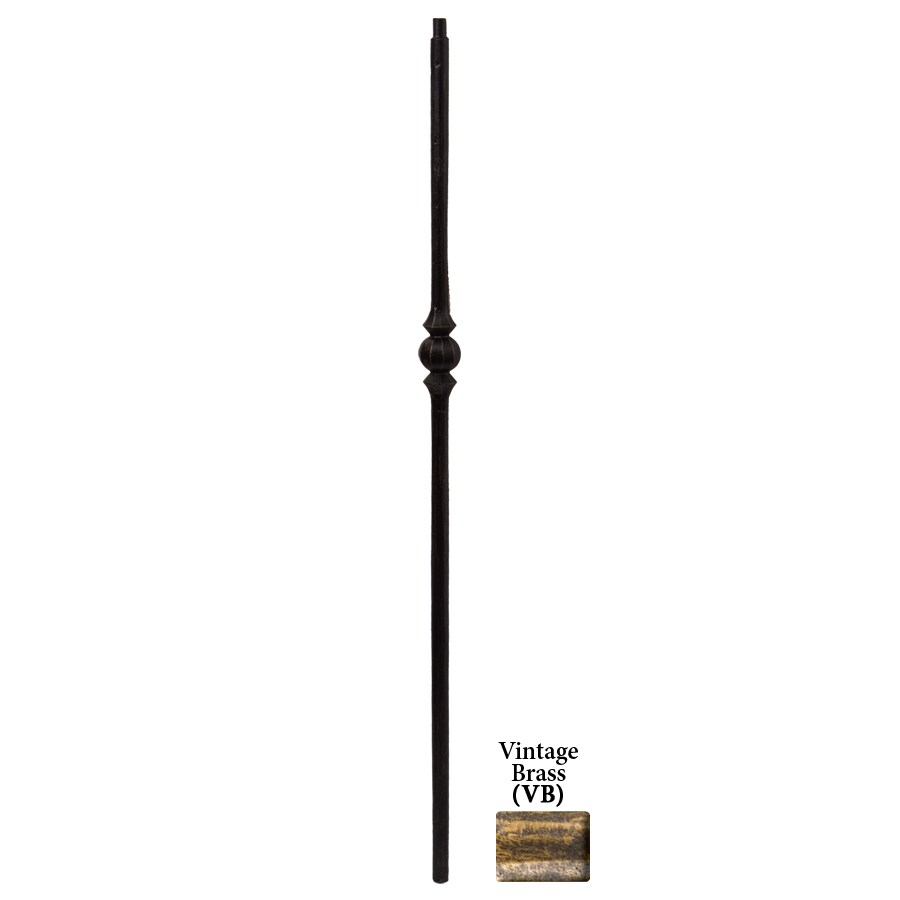 House of Forgings Tuscan Round Forged 1-in x 47-in Vintage Brass Painted Wrought Iron Stair Newel Post