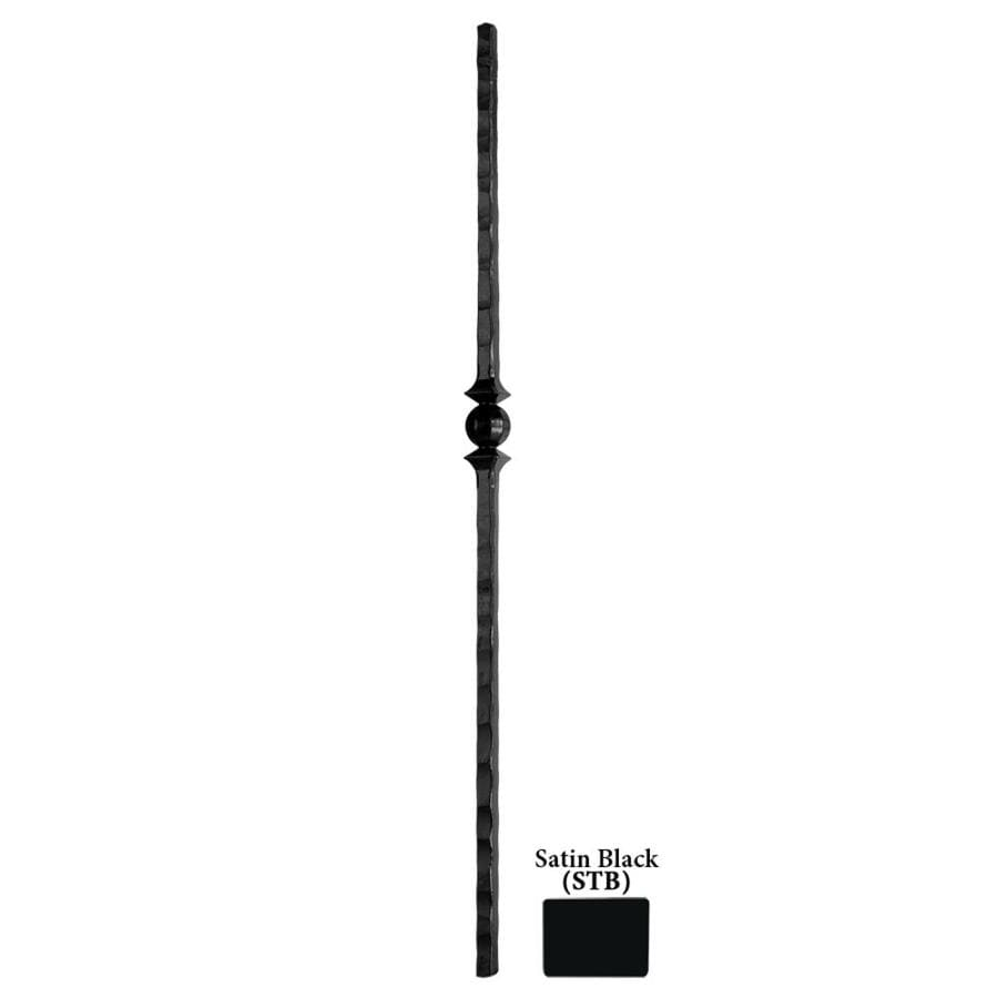 House of Forgings Tuscan Square Hammered 1-in x 47-in Satin Black Painted Wrought Iron Stair Newel Post