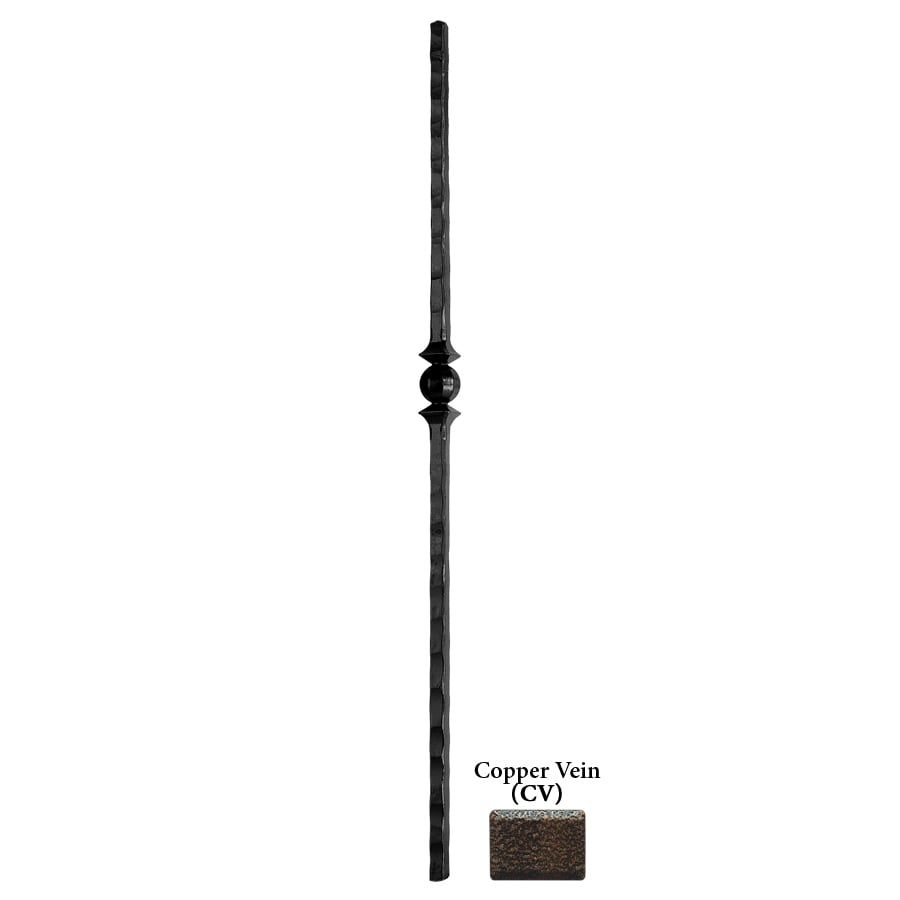 House of Forgings Tuscan Square Hammered 1-in x 47-in Copper Vein Painted Wrought Iron Stair Newel Post