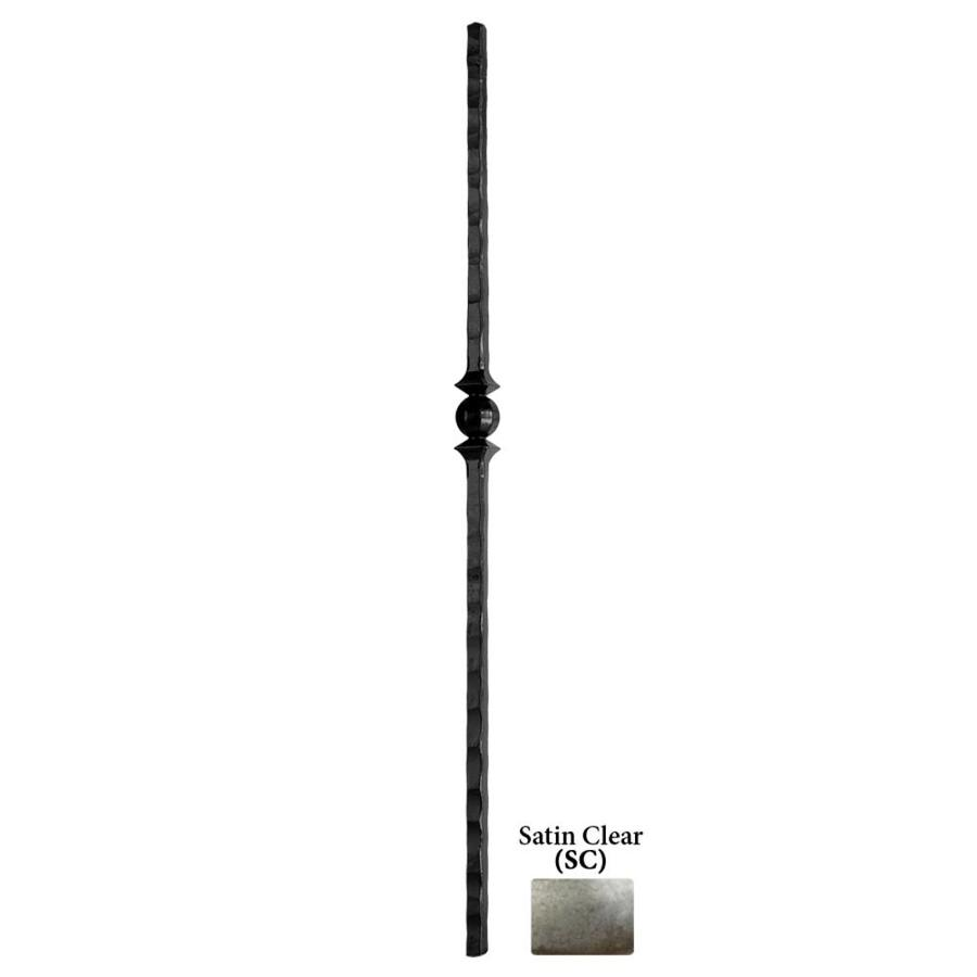 House of Forgings Tuscan Square Hammered 1-in x 47-in Satin Clear Painted Wrought Iron Stair Newel Post