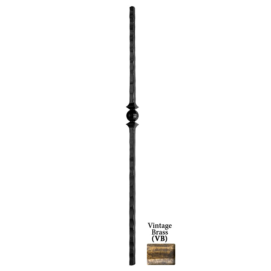 House of Forgings Tuscan Square Hammered 1-in x 47-in Vintage Brass Painted Wrought Iron Stair Newel Post