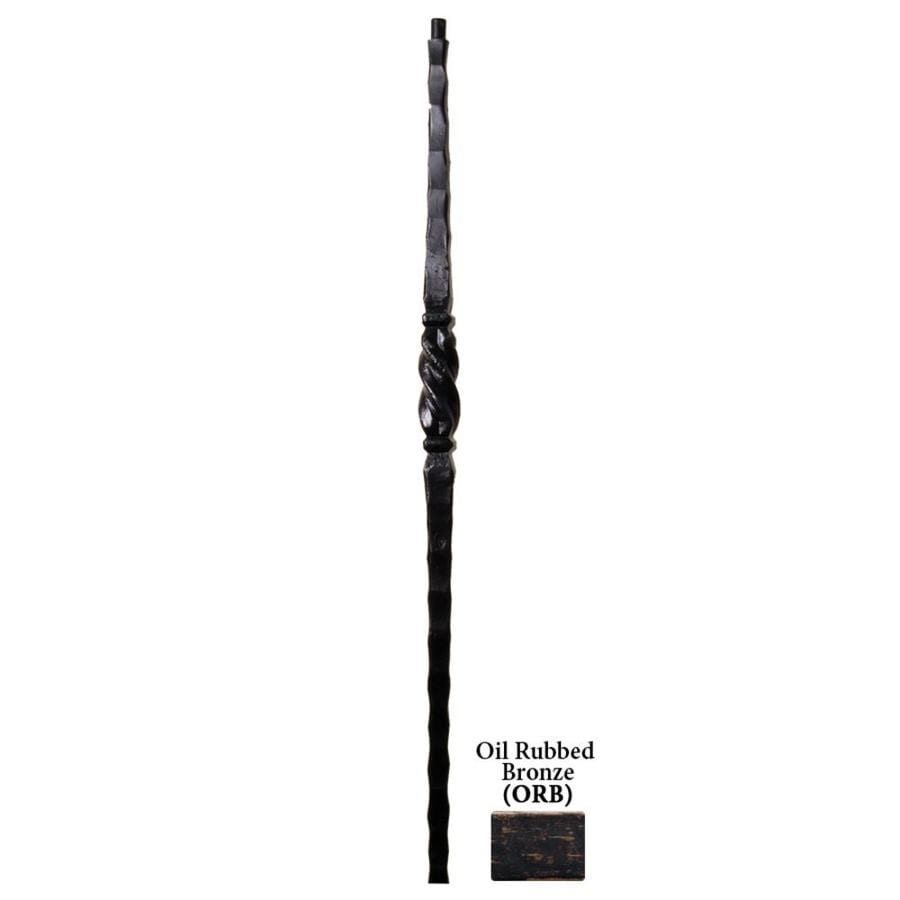 House of Forgings Tuscan Square Hammered 1-in x 47-in Oil Rubbed Bronze Painted Wrought Iron Stair Newel Post