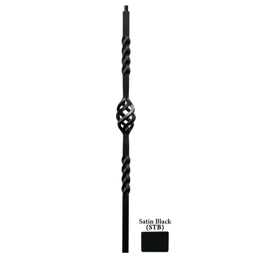 House of Forgings Twist Series 1.187-in x 47-in Satin Black Painted Wrought Iron Stair Newel Post