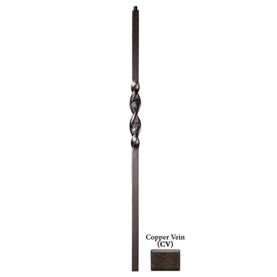 House of Forgings Ribbon Series 1.187-in x 47-in Copper Vein Painted Wrought Iron Stair Newel Post