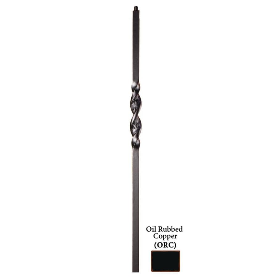 House of Forgings Ribbon Series 1.187-in x 47-in Oil Rubbed Copper Painted Wrought Iron Stair Newel Post