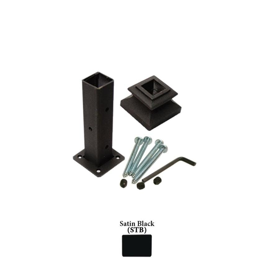 House Of Forgings Square Newel Kit Satin Black Wrought Iron Newel Post  Installation Kit