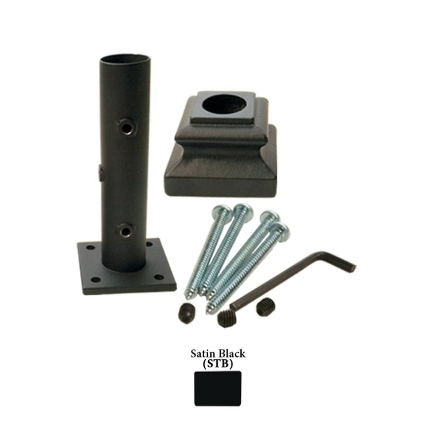 House of Forgings Round Newel Kit Satin Black Wrought Iron Newel Post Installation Kit