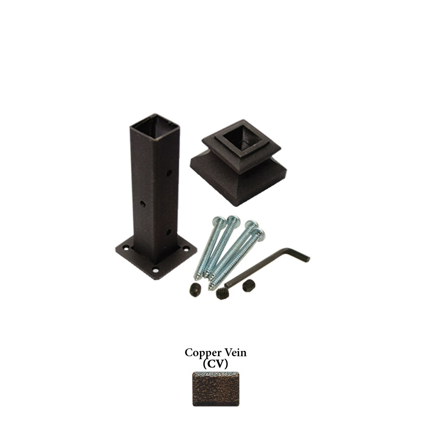 House of Forgings Square Newel Kit Copper Vein Wrought Iron Newel Post Installation Kit