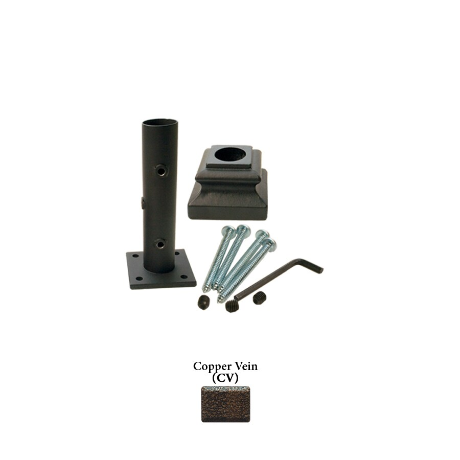 House of Forgings Round Newel Kit Copper Vein Wrought Iron Newel Post Installation Kit