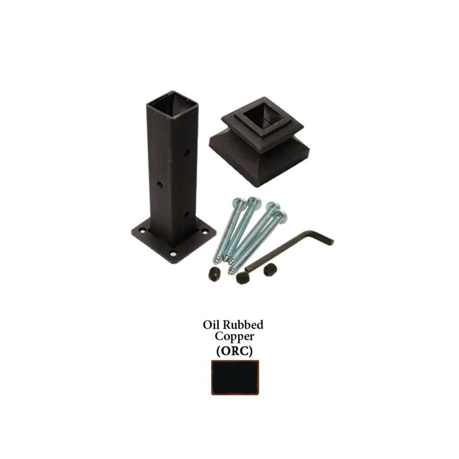 House of Forgings Square Newel Kit Oil Rubbed Copper Wrought Iron Newel Post Installation Kit