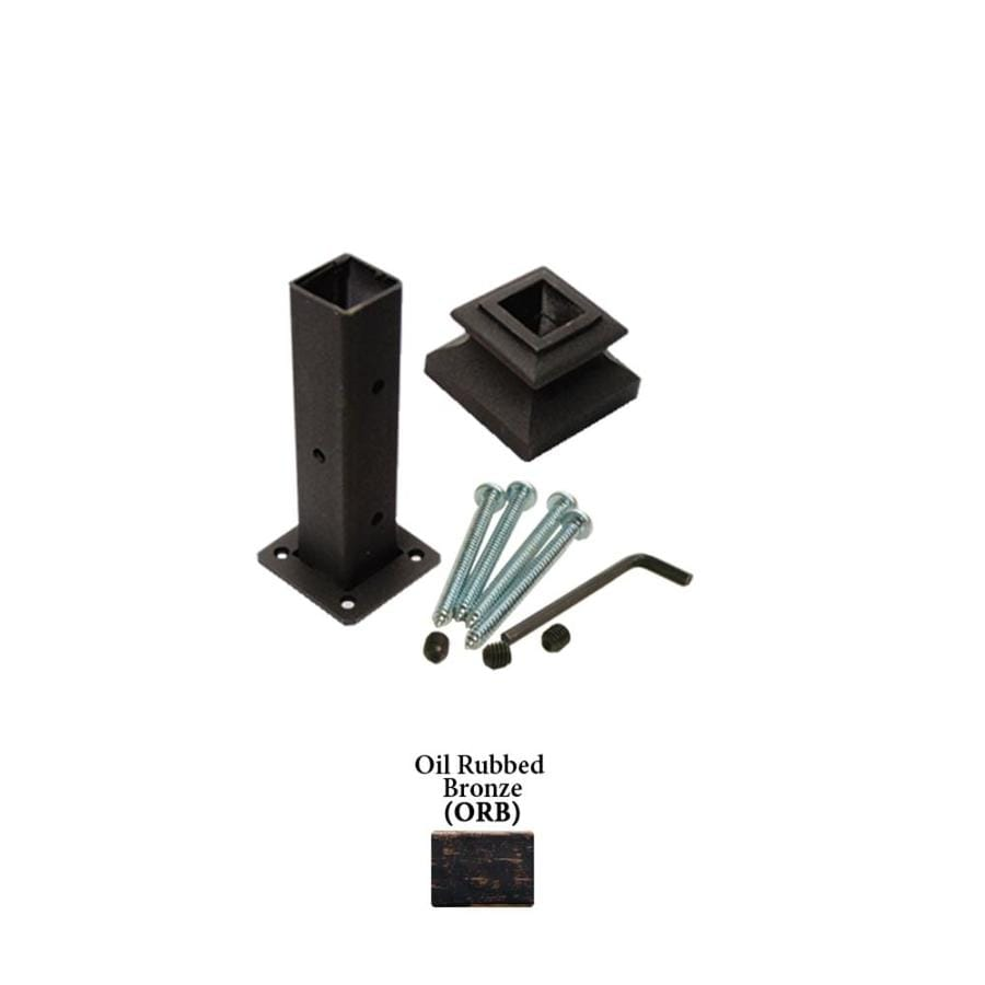 House of Forgings Square Newel Kit Oil Rubbed Bronze Wrought Iron Newel Post Installation Kit