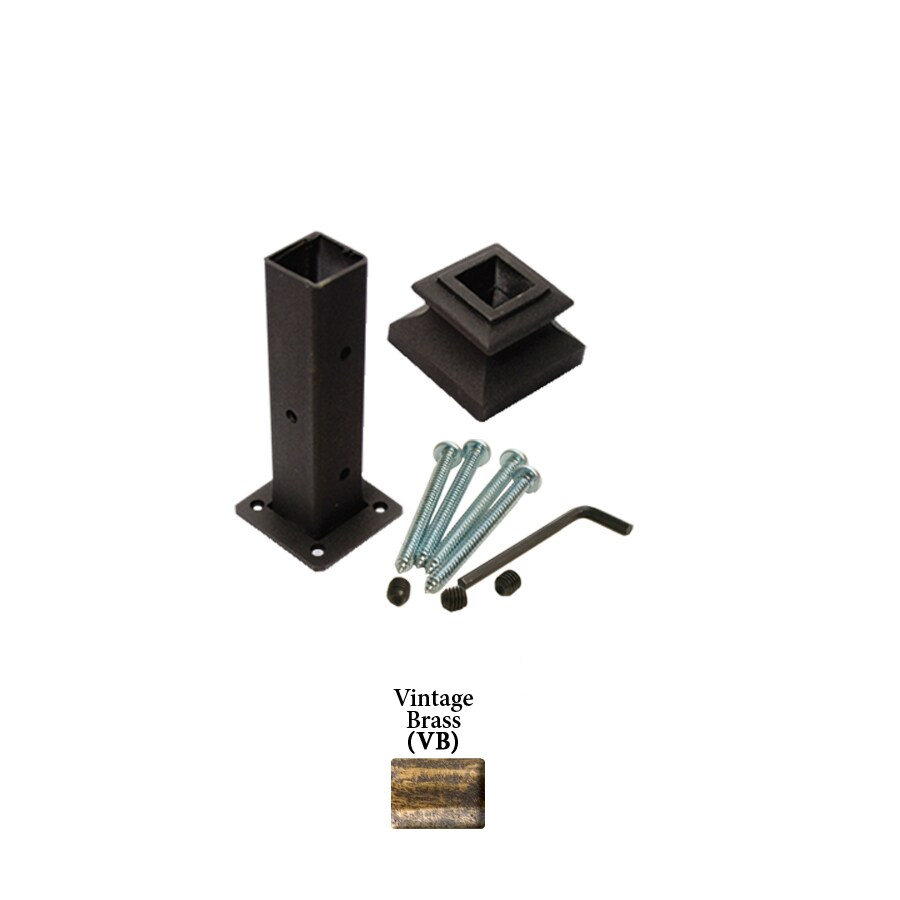 House of Forgings Square Newel Kit Vintage Brass Wrought Iron Newel Post Installation Kit