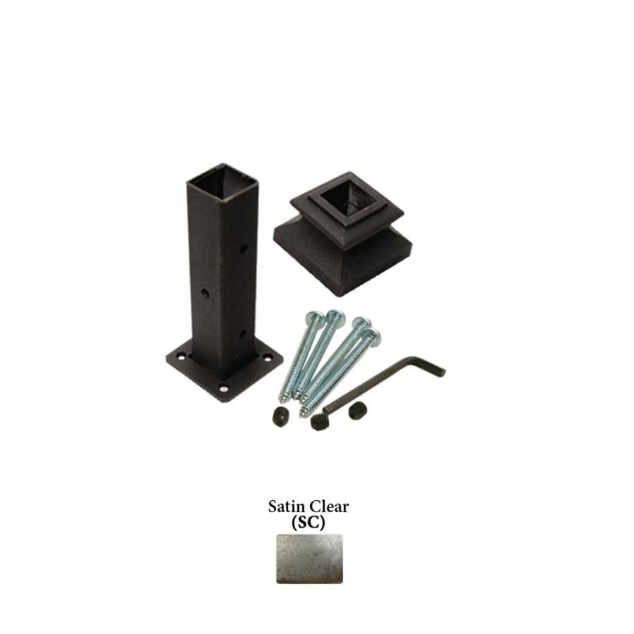 House of Forgings Square Newel Kit Satin Clear Wrought Iron Newel Post Installation Kit
