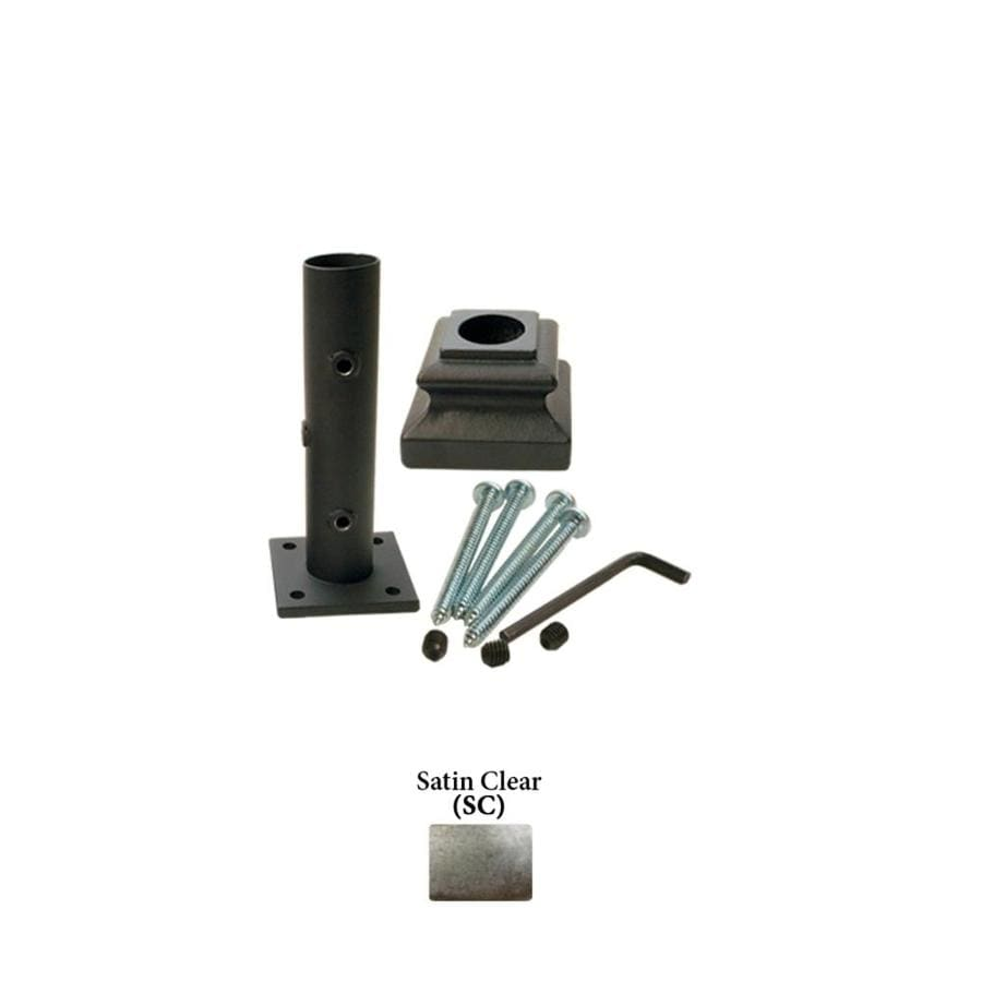 House of Forgings Round Newel Kit Satin Clear Wrought Iron Newel Post Installation Kit