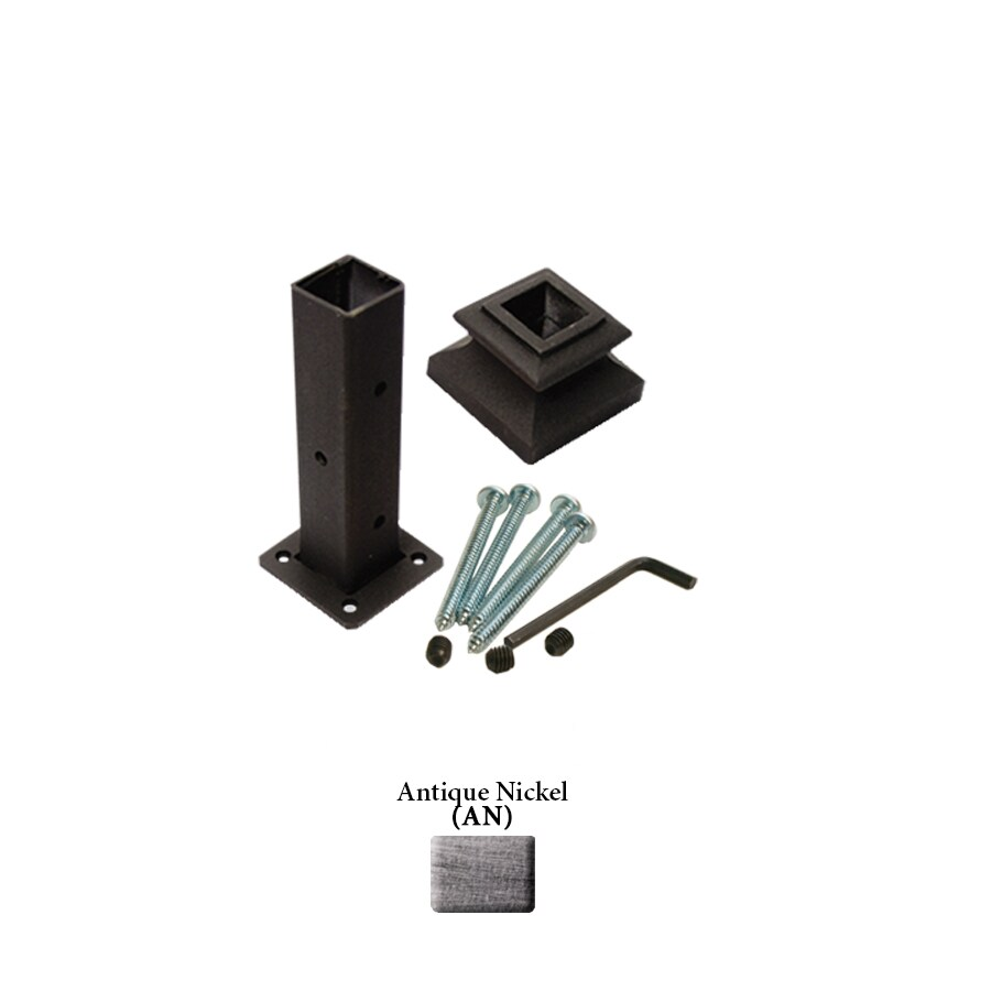 House of Forgings Square Newel Kit Antique Nickel Wrought Iron Newel Post Installation Kit
