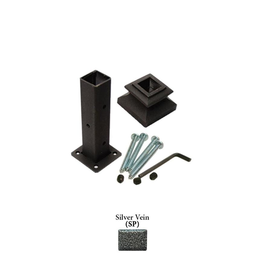 House of Forgings Square Newel Kit Silver Vein Wrought Iron Newel Post Installation Kit