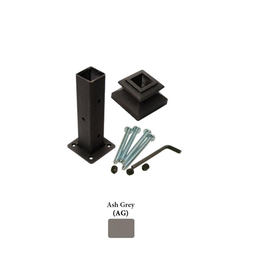 House of Forgings Square Newel Kit Ash Grey Wrought Iron Newel Post Installation Kit