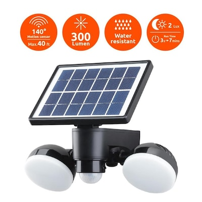 Black Low Voltage Solar Led Landscape Flood Light With Motion Sensor