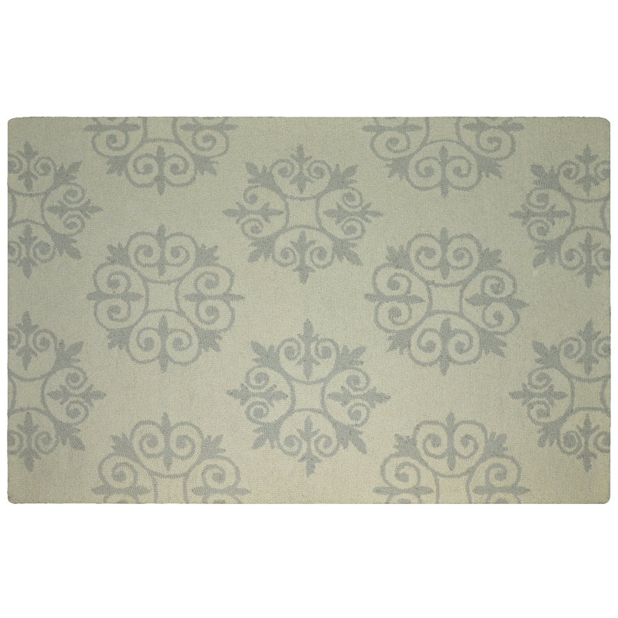 allen + roth Off-White Rectangular Indoor Tufted Area Rug (Common: 5 x 8; Actual: 5.3-ft W x 7.1-ft L)
