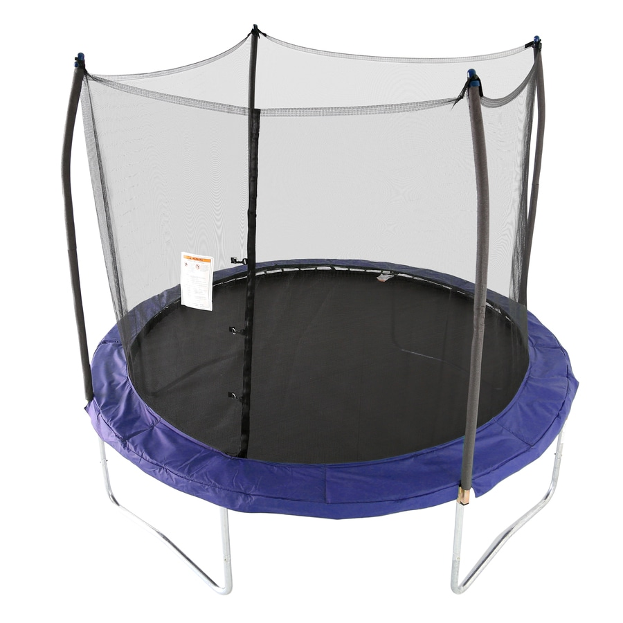 shop skywalker 10 ft round blue backyard trampoline with enclosure