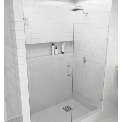 Glass Warehouse Glass Warehouse 78 In H X 58 In To 59 In W Frameless Hinged Brushed Nickel Shower Door Clear Glass In The Shower Doors Department At Lowes Com