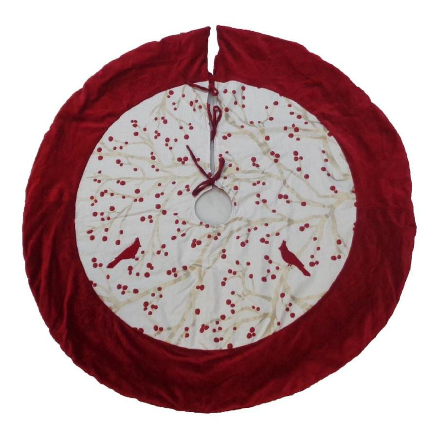 Allen Roth 56 In Red Cotton Berries Christmas Tree Skirt