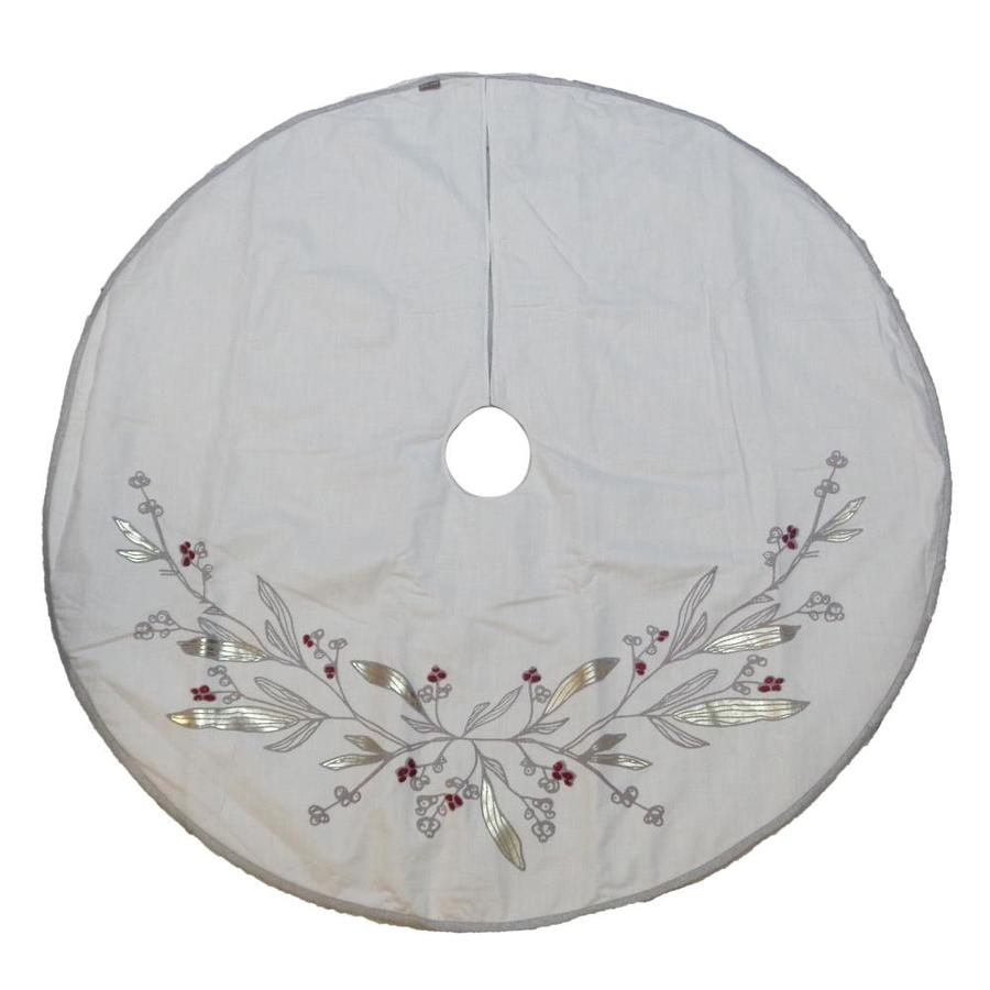 allen + roth 56-in Off-White Cotton Traditional Christmas Tree Skirt