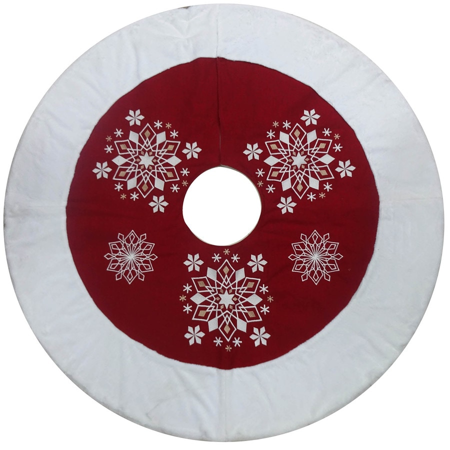 allen + roth 56-in Red Cotton Snowflake Christmas Tree Skirt