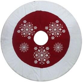 allen roth 56 in red cotton snowflake christmas tree skirt - Disney Christmas Tree Skirt