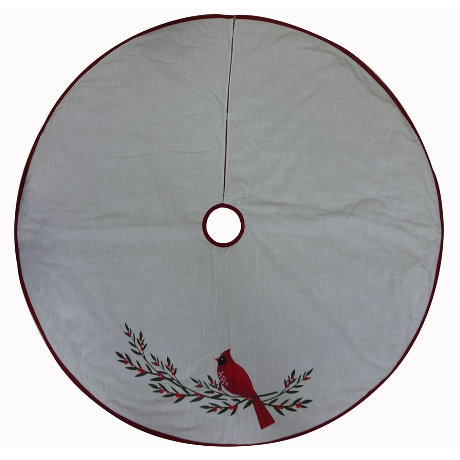 Holiday Living 56-in Off-White Cotton Traditional Christmas Tree Skirt