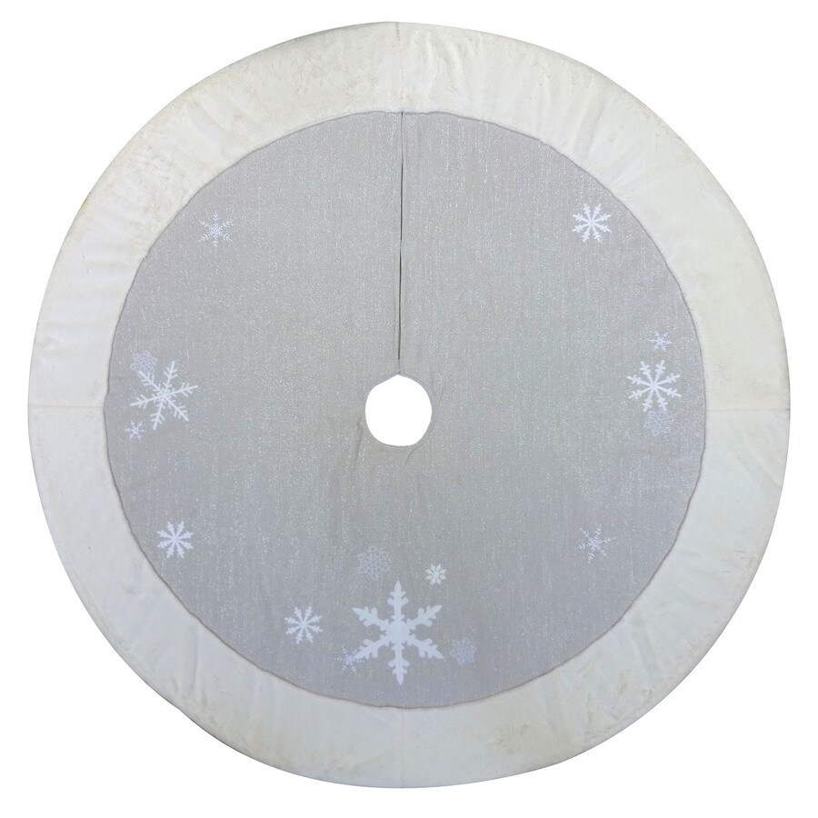 Holiday Living 56-in Gray Cotton Snowflake Christmas Tree Skirt