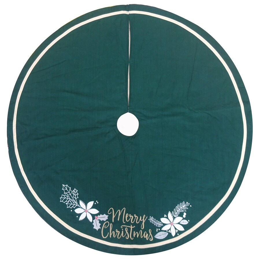 Holiday Living 56-in Green Cotton Merry Christmas  Tree Skirt