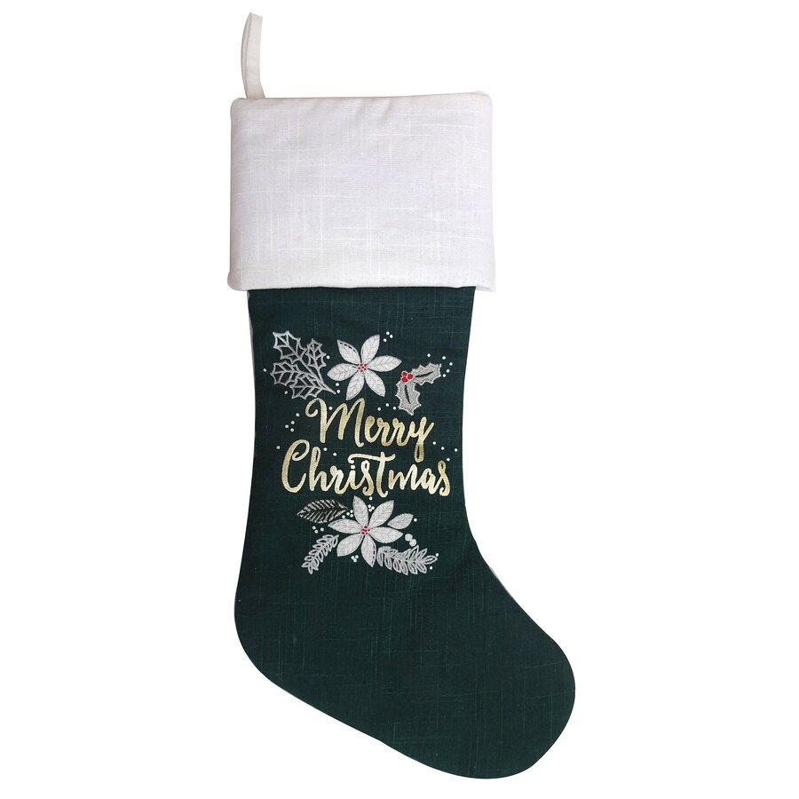 Holiday Living 19-in Green Traditional Christmas Stocking