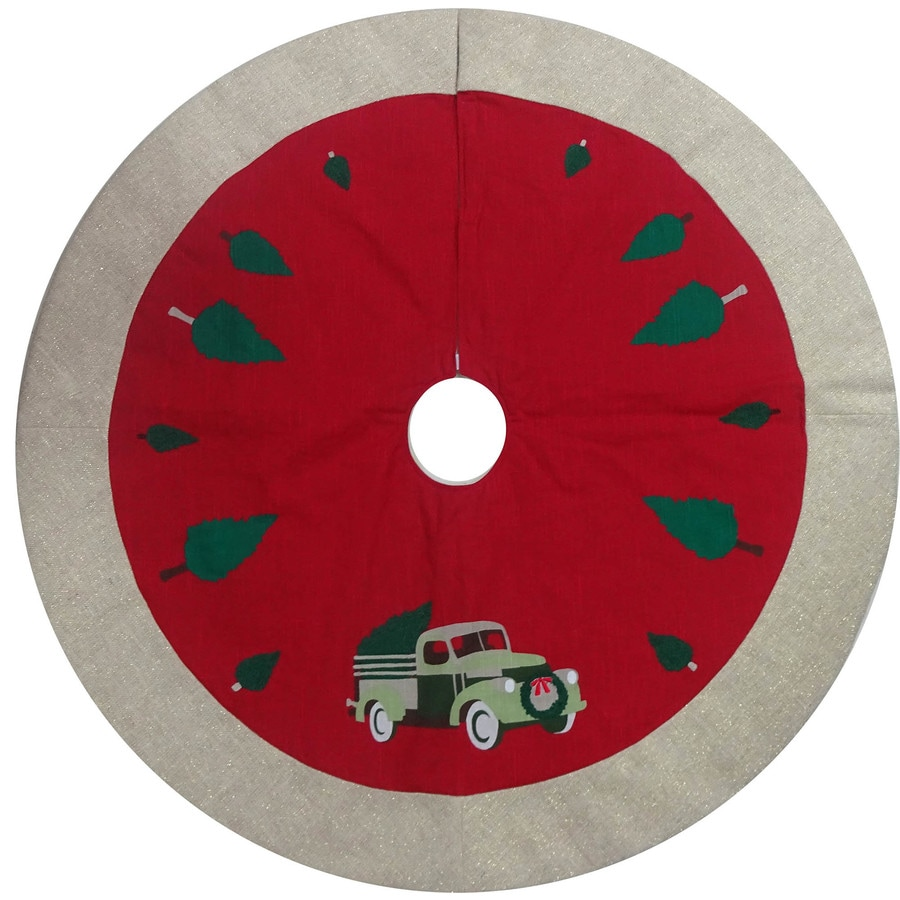 Holiday Living 48 In Red Cotton Traditional Christmas Tree Skirt