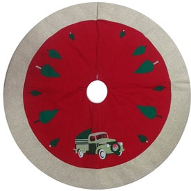 holiday living 48 in red cotton traditional christmas tree skirt - Christmas Tree Skirts