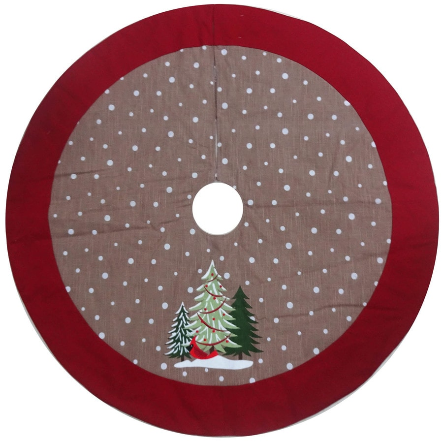 Holiday Living 48-in Brown Cotton Traditional Christmas Tree Skirt