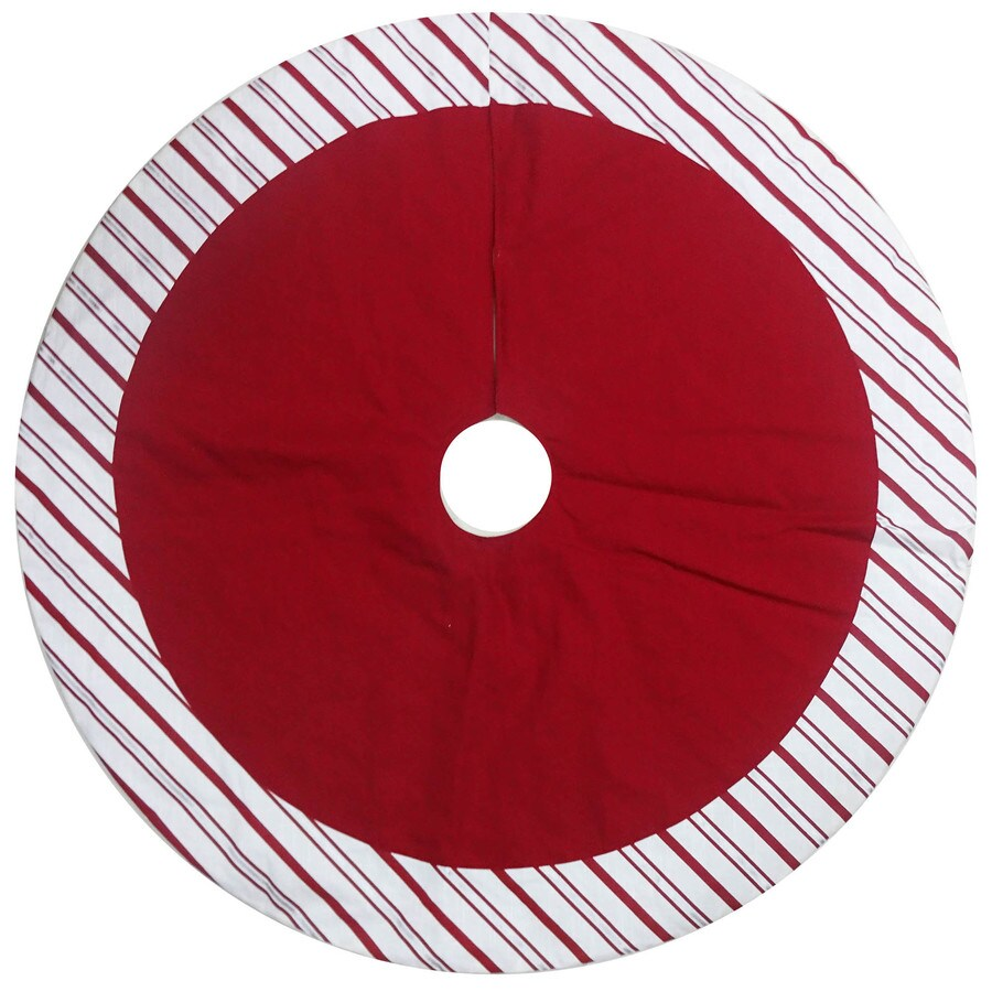 Holiday Living 48-in Red Cotton Traditional Christmas Tree Skirt