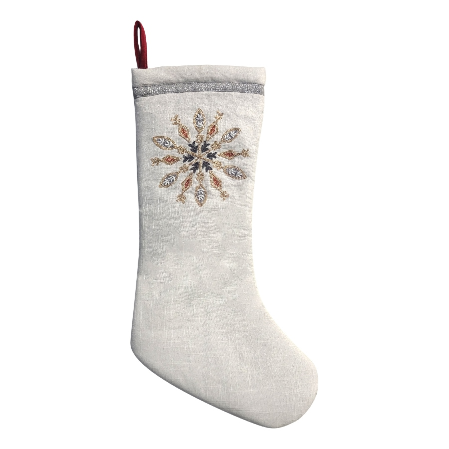 Shop allen + roth 19-in White Snowflake Christmas Stocking at Lowes.com