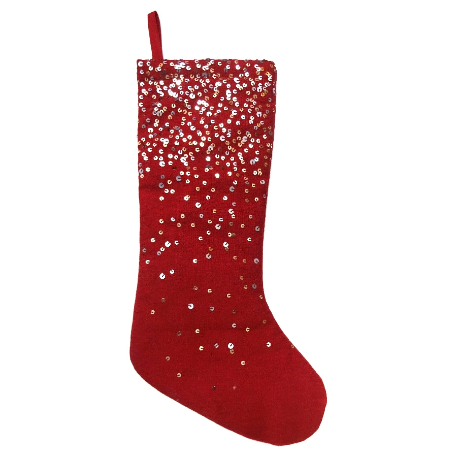 allen + roth 19-in Red Embroidered Christmas Stocking