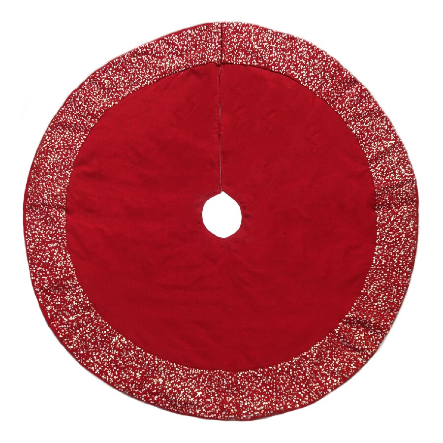 allen + roth 56-in Red Cotton Beaded Christmas Tree Skirt