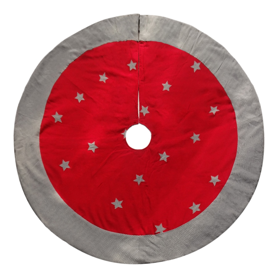 Holiday Living 56-in Red Cotton Traditional Christmas Tree Skirt