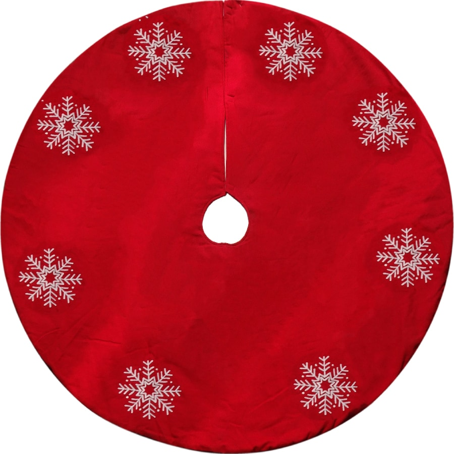 Holiday Living 56-in Red Cotton Snowflake Christmas Tree Skirt