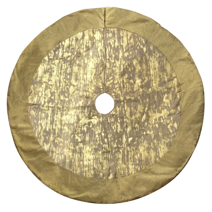 Holiday Living 56-in Gold Cotton Traditional Christmas Tree Skirt
