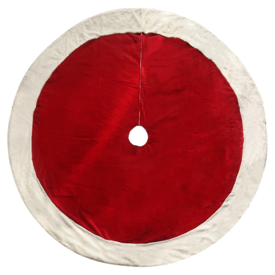 Holiday Living 72-in Red Cotton Fur Christmas Tree Skirt