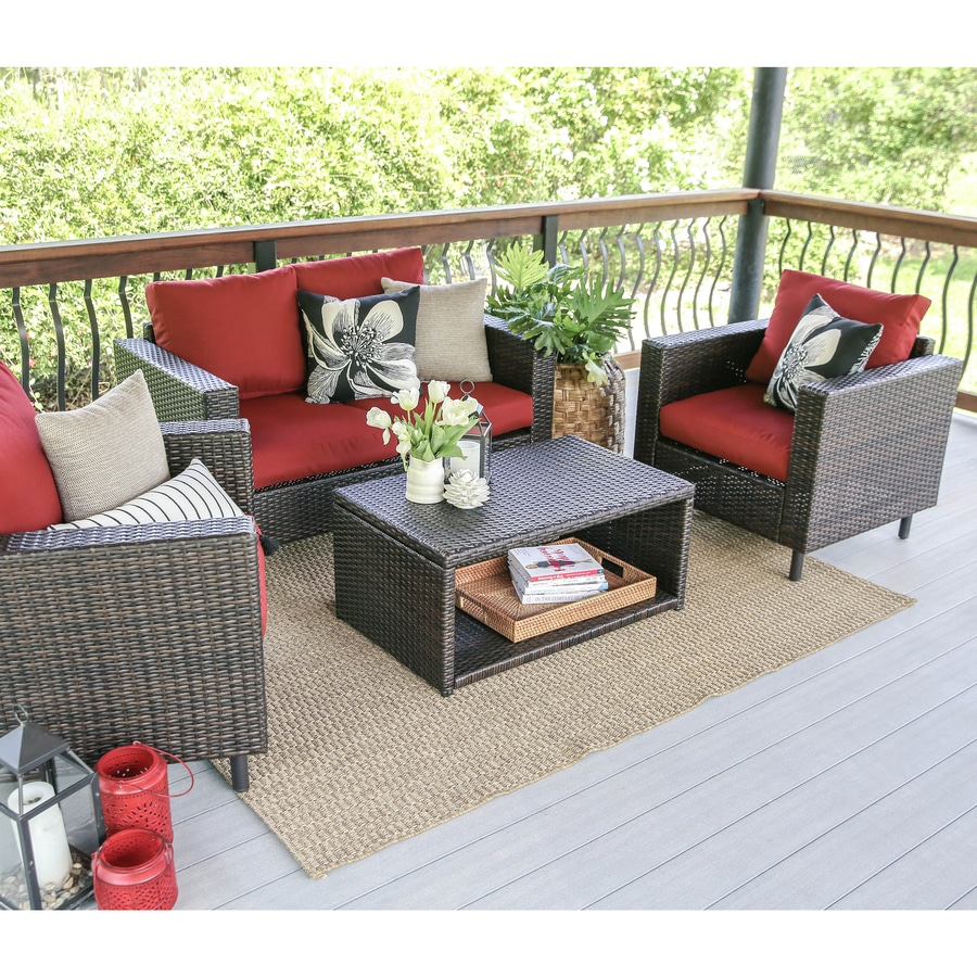 Leisure Made Draper 4 Piece Wicker Frame Patio Conversation Set With Red Cushions