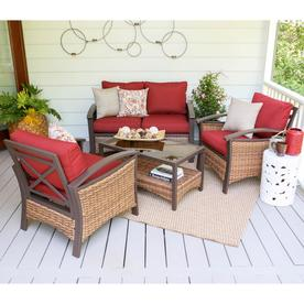 Leisure Made Thompson 4 Piece Wicker Patio Conversation Set