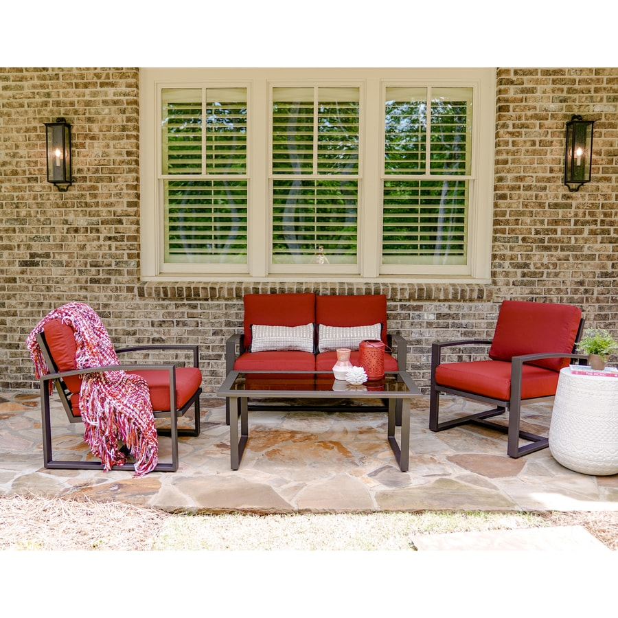 Leisure Made Jasper 4 Piece Aluminum Frame Patio Conversation Set With Red Cushions
